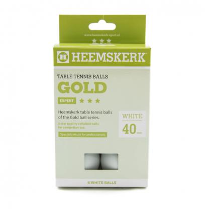 Tafeltennisballen Heemskerk Gold 3 ster Wit (6) Doosje