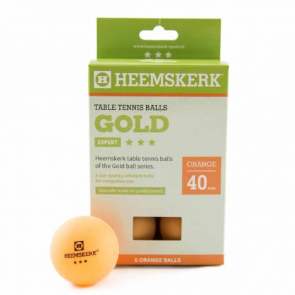 Tafeltennisballen Heemskerk Gold 3 ster Oranje (6) Doosje