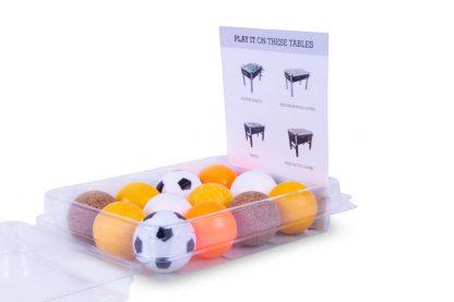 Tafelvoetbalballetjes Assorti per 12 Inhoud